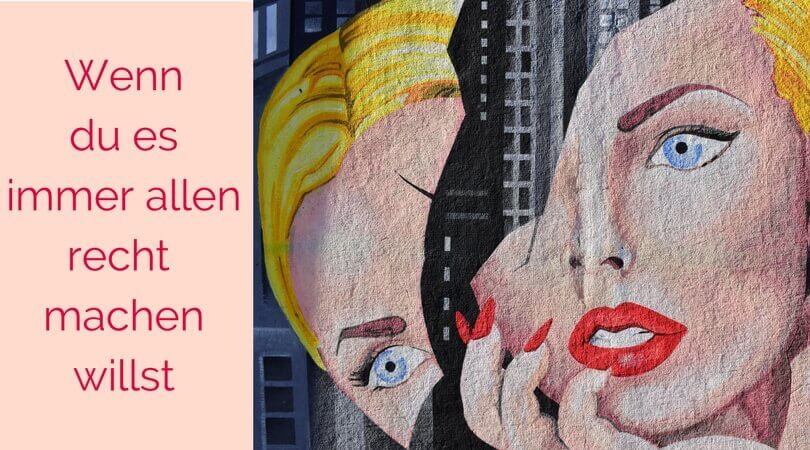 Es allen recht machen, gemaltes Bild, Frau mit gespaltenem Gesicht